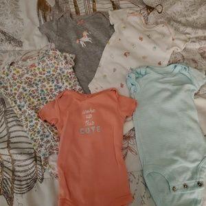 Bundle of Carters Newborn Bodysuits